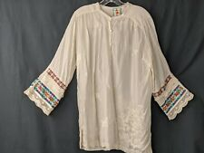 JOHNNY WAS 100% CUPRA RAYON TUNIC EMBROIDERED BOHO SHIRT BLOUSE TOP SZ L