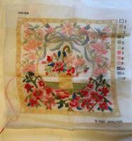 Janlynn Cross Stitch 119-04 Flower Basket 1991 Partially Done Vintage