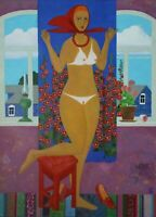 SUMMER GIRL by Andrey SIMAKOV, Original oil Painting RUSSIAN