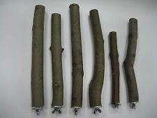 6 Sitzstangen - Naturholz für Vögel Papagei Durchmesser 2-3 cm