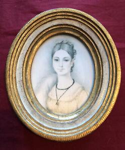 Vintage Florentine Silk Screen Print Portrait Of A Lady In Gold Leaf Frame