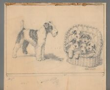 """Fathers Day Pencil Lakeland Terrier w/ Puppies 8.5x7"""" Greeting Card Art #5"""