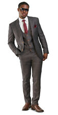 Slim Fit 2 Button 3 Piece Vested Mens Suit Bronze Brown Windowpane 35071 AZARMAN