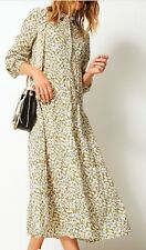 M&S Per Una olive floral cotton long sleeve floaty tiered shirt maxi dress 14 16