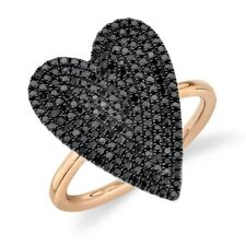 Heart Black Diamond Ring 14K Rose Gold Womens Round Pave Cocktail Right Hand