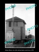 OLD 8x6 HISTORIC PHOTO OF DELMAR ILLINOIS THE RAILROAD SIGNAL TOWER c1950