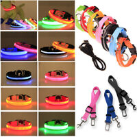 Nylon LED Dog Pet Lead Leash with Clip USB Flashing Light Up for Collar Harness