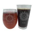 B*TCH JERK Set Couple Engraved Beer Pint Wine Glass Supernatural Winchester Bros
