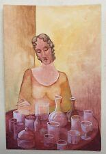 Aquarelle Gouache Portrait Femme Verres Carafes PIERRE-HENRI BOUSSARD Sard #41