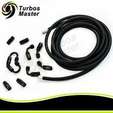 16.4FT AN6 6AN Nylon Braided Oil Fuel Line+Fittings Hose and Adaptor KIT Black
