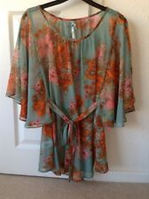 LADIES 'Chiffon'Floral Floaty Top by NEXT Size 6 Turquiose/Orange EX COND