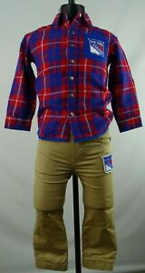 New York Rangers NHL OuterStuff Youth Snap Up Flannel & Khaki Joggers Set/Single