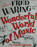 "1963 FRED WARING & PENNSYLVANIANS Concert Poster Window Card 14x22"" VINTAGE"