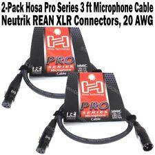 2-Pack Hosa Pro Series 3 ft XLR Microphone Cable Neutrik REAN Connectors HMIC003