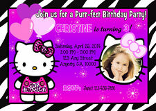 HELLO KITTY ZEBRA PRINT NEON CUSTOM BIRTHDAY PARTY INVITATION & TY CARD U PRINT