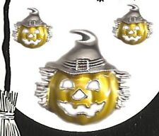 Charm Set Pumpkin in Silver Plate New Halloween Matching Earring & Brooch Pin or
