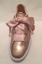 New PUMA Basket Peach Patent Leather Sneakers Satin Ribbon sz 7C/39EUR