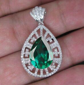 Pear Cut 2.15Ct Natural Zambian Emerald Women's Pendant In 925 Sterling Silver