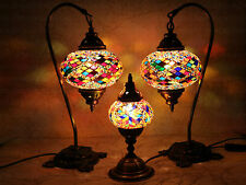 Multicolore Turque Style Marocain Mosaïque Lampe De Table Abat Jour 2 Large