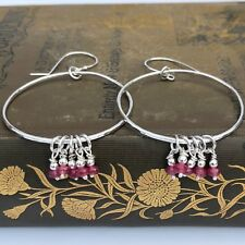 Ruby Sterling Silver Big Hoop Earrings Hammered Handmade Statement Earrings