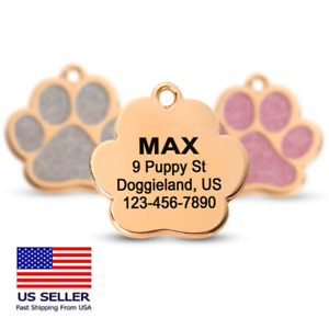 Custom Sparkly Gold Paw ID Tag Personalized Dog Engraved Puppy Cute Name Shiny