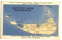 Postcard Map Nantucket Island Massachusetts MA