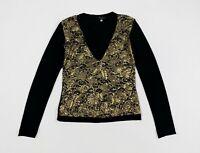 Please maglia stretch dorata oro S blusa maglia strass top donna usato T5190