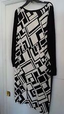 Ralph Lauren CLASSY Long Sleeve Black/Cream Geo Design Knit Dress NWT $225 XL