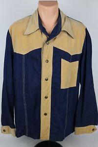 Vintage Olympic Sportswear Mens L Denim Faux Suede Snap Button Western Shirt USA