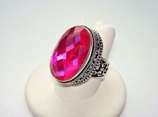 AB Raspberry Pink Rainbow Mystic Topaz Oval-Cut Solitaire .925 Silver Ring 8