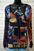 Maglia Blusa Nera Donna DESIGUAL Taglia XL Maglietta Shirt Woman Manica Lunga