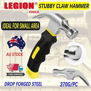 Stubby Claw Hammer Drop Forged Steel All Purpose Rubber Grip 8OZ Small Area