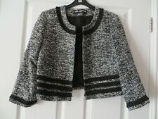 KARL LAGERFELD PARIS BLACK WHITE SMART BOX JACKET SIZE M/12