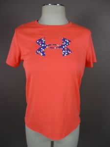 Under Armour T443 Size L Youth Girl's Crew Neck Short Sleeve Athletic Orange Top
