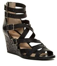 New in Box - $368 FRYE Rain Strappy Black Leather Wedge Sandals Size 7.5