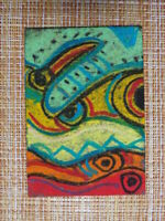 ACEO original pastel painting outsider folk art brut #010261 abstract surreal