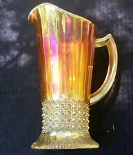 CARNIVAL SCARCE OLD IMPERIAL FLUTE AND CANE MILK PITCHER IN MARIGOLD