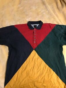 Structure Men's Abstract print Polo shirt Sz Large geometric vintage color block