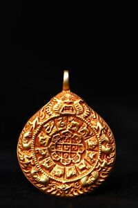 old Tibet Buddhism Red copper Handmade Carving Gilding Nine palaces Pendants