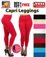 WOMEN PLUS SIZE SEAMLESS STRETCH SPANDEX YOGA PANTS CAPRI LEGGINGS