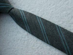 GREY BLUE DOUBLE STRIPE SKINNY SLIM 2 INCH polyester necktie TIE by TOPMAN