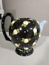 Mary Engelbreit Charpente 1997 Black Yellow Blue Floral Teapot 8x8 No Lid