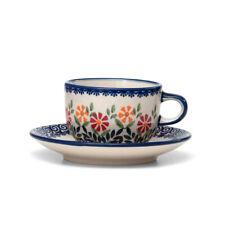 Bunzlauer Keramik Tasse mit Untertasse 200ml Dekor JS14 Handarbeit Neu