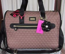 Betsey Johnson Weekender Spice Quilted Bows Hearts Luggage Carry-on Bag NWT