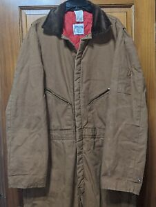 Walls Zero Zone Insulated Work Coveralls Workwear Red Quilt Lined Tan Canvas XL