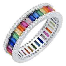 Beautiful Baguette Shape Rainbow Gemstones & White CZ Party Unique Women's Band
