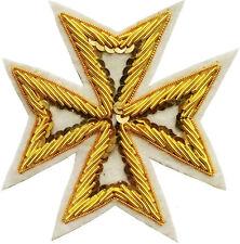 MASONIC ST. JOHN ORDER MALTA KNIGHTS MALTESE CROSS HAND EMBROIDERED (ME-002 WT)