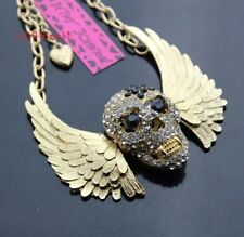 Betsey Johnson Necklace  SKULL With Wings GRILL Gold  Black