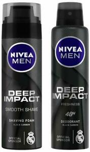 NIVEA MEN Shaving Foam,Deep Impact Smooth,200ml + Deodorant, Deep Impact,150ML