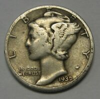 1935-S Mercury Head Silver Dime in Average Circulated Condition Priced Right